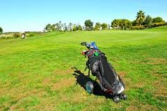 球员在El Rompido高尔夫球场,安大路西亚,西班牙 库存图片
