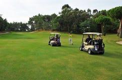 球员在Islantilla,安大路西亚,西班牙高尔夫球场  图库摄影