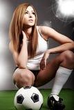 球员性感的足球 免版税库存照片