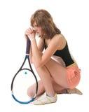 球员祈祷的网球 免版税库存照片