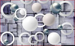 球和圈子在抽象背景 墙壁的照片墙纸 3d翻译 库存照片