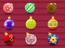 球圣诞节五颜六色的集 圣诞快乐a的汇集 免版税库存照片