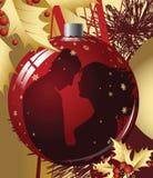 球圣诞节夫妇亲吻 库存图片