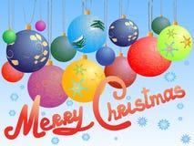 球圣诞节明信片 免版税库存图片