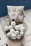 球圣诞节查出的心情三白色 人为白色球玩具 库存图片
