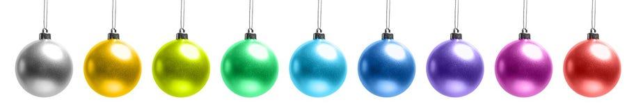 球圣诞节查出集合白色 免版税库存照片