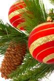 球圣诞节毛皮结构树 库存照片