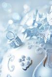 球圣诞节特写镜头银 免版税库存图片