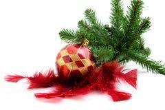 球圣诞节用羽毛装饰结构树 库存照片