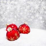 球圣诞节红色三 免版税库存图片