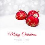 球圣诞节红色三 库存图片