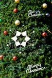 球圣诞节装饰星形结构树 免版税库存照片