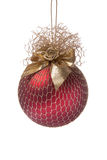 球圣诞节装饰花金子红色 免版税库存照片