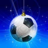 球圣诞节装饰足球 免版税库存照片
