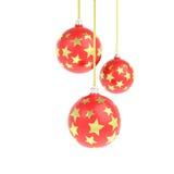 球圣诞节金黄星形 免版税库存图片
