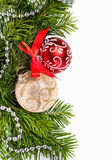 球圣诞节金黄红色结构树 免版税库存图片