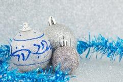 球圣诞节银三 免版税库存照片