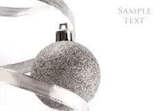 球圣诞节银 免版税库存图片