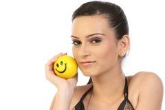 球女孩现代微笑 免版税库存照片