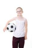 球女孩藏品足球 库存照片