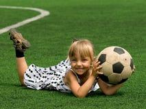球女孩足球 库存图片