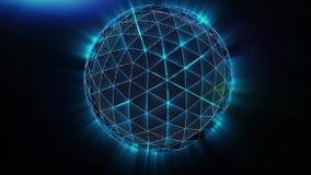 球形、地球和空间以结节的形式 股票 与移动的线,小点的抽象几何背景和 库存例证