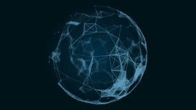 球形、地球和空间以结节的形式 与移动的线、小点和三角的抽象几何背景 库存例证