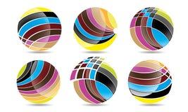 球形圈子商标、全球性元素商业公司和抽象公司的兆收藏环绕了象标志传染媒介 免版税库存图片