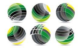 球形圈子商标、全球性元素商业公司和抽象公司的兆收藏环绕了象标志传染媒介 库存照片