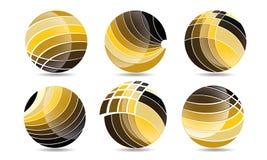 球形圈子商标、全球性元素商业公司和抽象公司的兆收藏环绕了象标志传染媒介 免版税库存照片