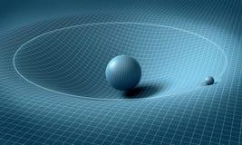 球形在它附近影响空间/时间 库存照片
