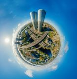 球形寄生虫行星 里加市360 VR空气图片的议院虚拟现实的,塔的全景 免版税库存图片