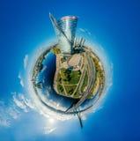 球形寄生虫行星 里加市360 VR空气图片的议院虚拟现实的,塔的全景 免版税库存照片