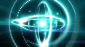 球形形状与中坚力量氢核中子的光原子的抽象原子动画效果在中心和电子微粒飞行 库存例证