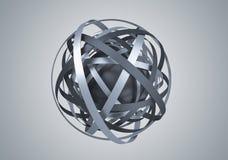 球形抽象3D翻译与圆环的 免版税库存照片