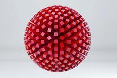 球形由红色立方体制成 3d回报image.colorful圆筒 免版税库存图片