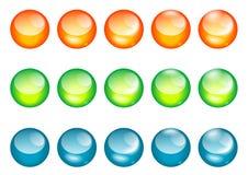 球按钮色的玻璃万维网 库存图片
