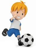 球插入的孩子足球 免版税库存照片