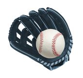 球棒球关闭dof重点手套皮革缝合浅 库存照片
