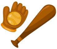 球棒球棒手套 免版税库存图片