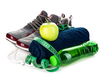 球概念健身pilates放松 减重在白色背景的概念特写镜头 库存照片