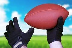 球概念橄榄球草皮革 免版税图库摄影