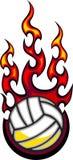 球火焰状徽标排球 库存照片