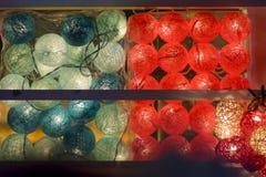 球灯和LED是五颜六色和轻的 免版税库存照片