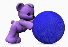 球熊蓝色紫色 免版税库存照片