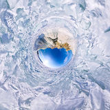 球状全景360 180度在海岛上的海角僧人  免版税库存图片