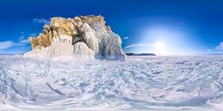 球状全景360 180度在海岛上的海角僧人  免版税图库摄影