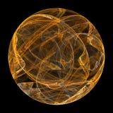球状分数维 背景球黑色设计火例证 在黑背景的金黄火焰 库存照片