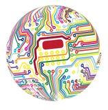 球状的电路 免版税库存图片