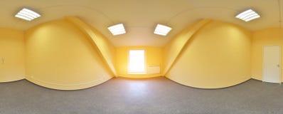 球状360程度全景投射,全景在现代平的公寓的内部空的室 库存图片